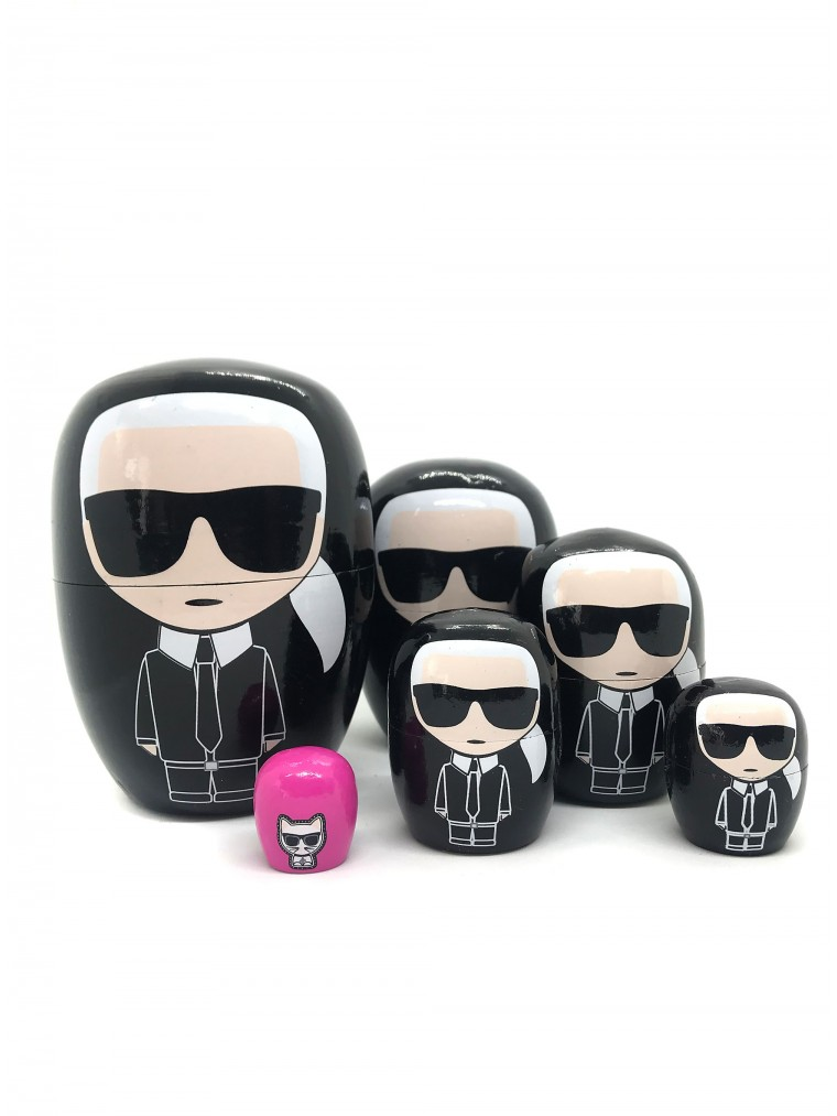 Karl Lagerfeld Wooden Ikonik Dolls Set-Black