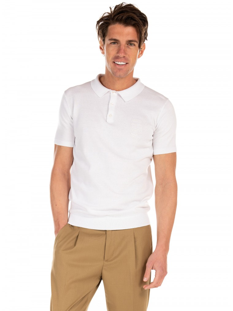 Karl Lagerfeld Knitted Polo Shirt-White