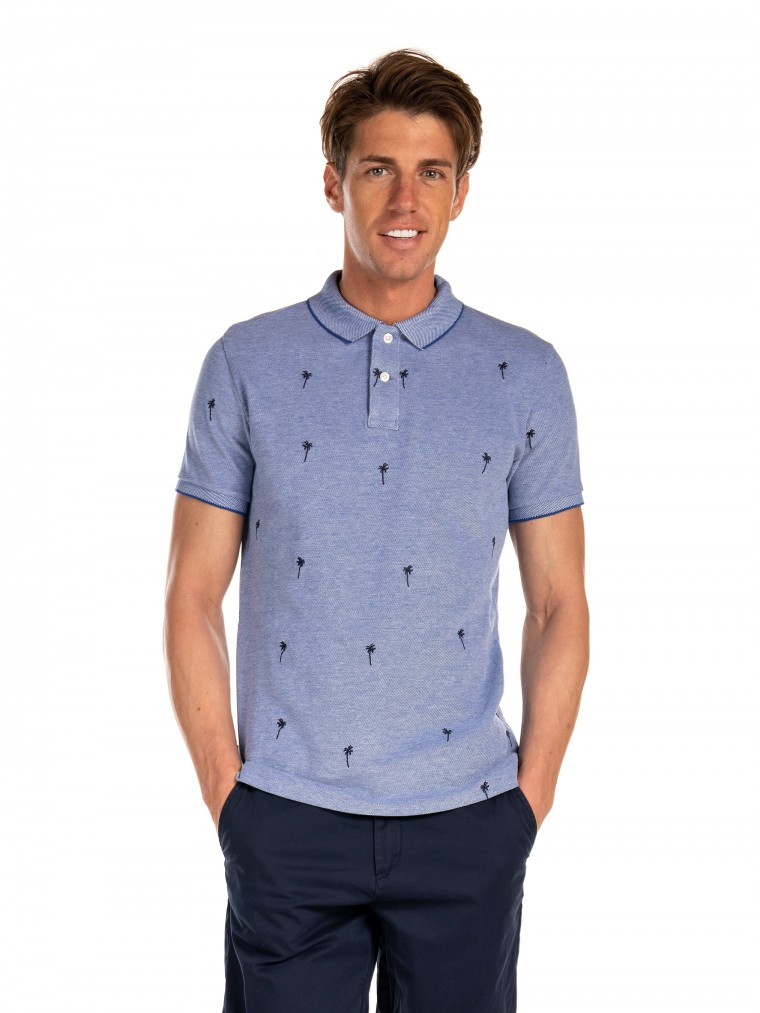 Superdry Classic Embroidered Pique Polo Shirt-Light Blue