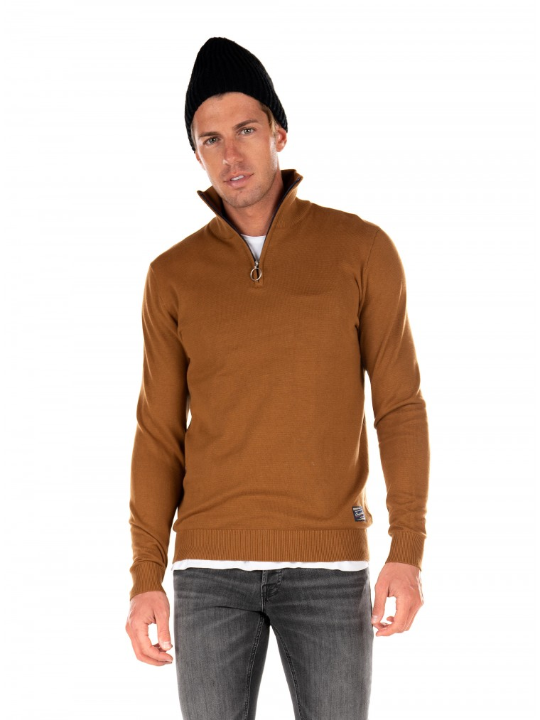Jack & Jones Zip Neck Knit Eli-Rust Brown