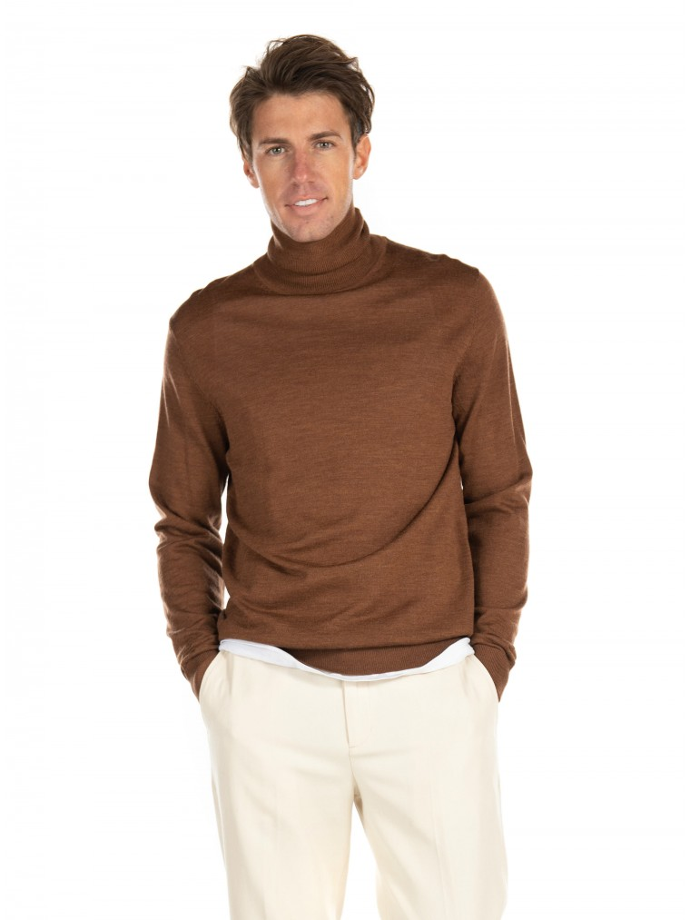Jack & Jones Merino Wool Turtle Neck Knit-Beige