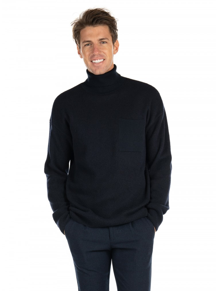 Scotch & Soda Wool Blend Turtleneck Knit-Blue