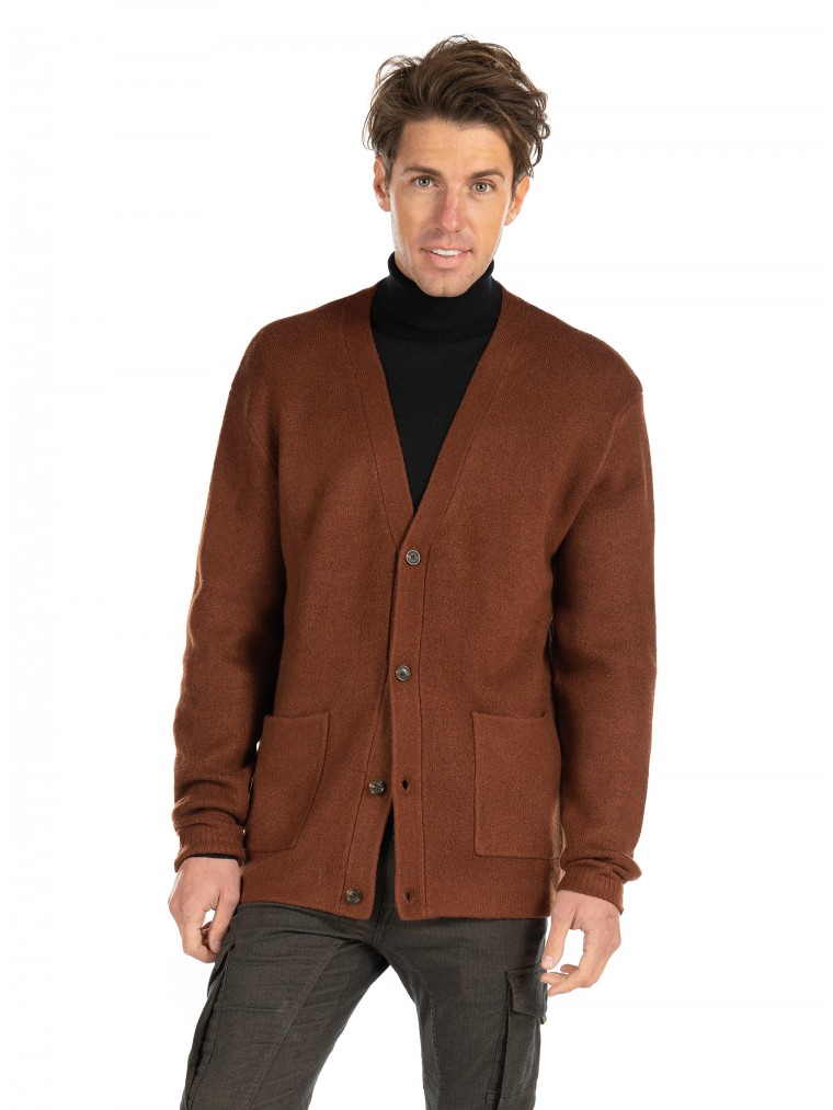 Scotch & Soda Relaxed Soft Knit Cardigan-Rust Brown