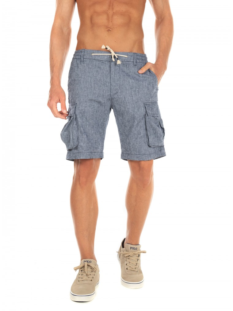 Jack & Jones Linen Cargo Shorts-Blue