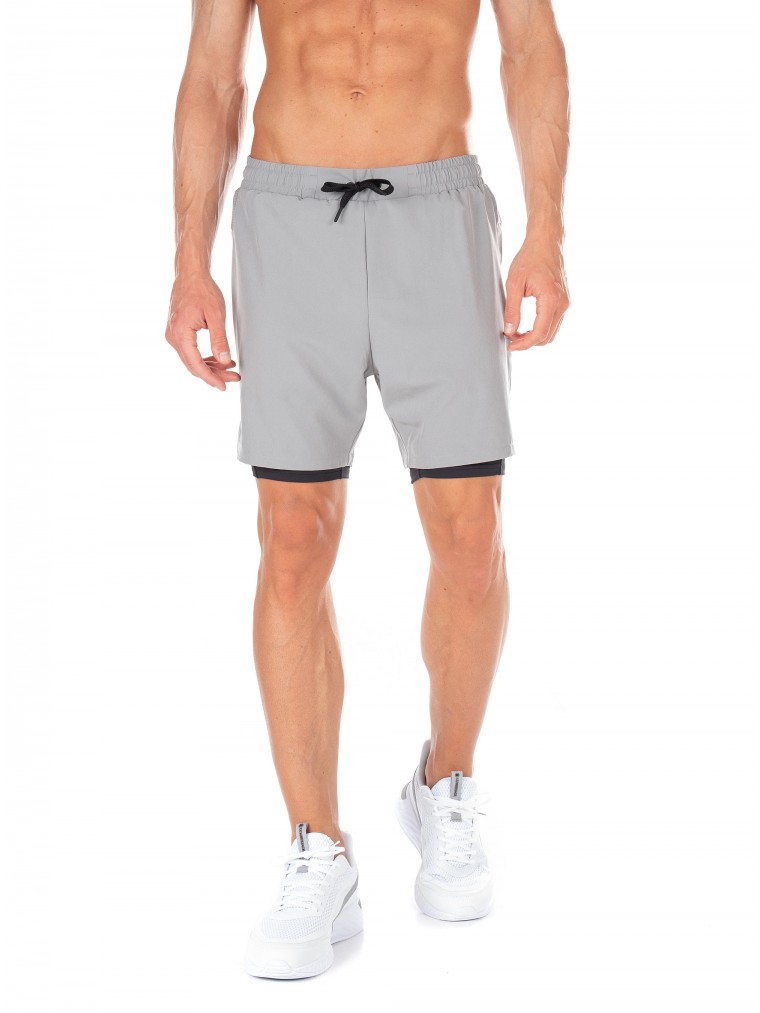 Superdry Sport Double Layer Shorts-Grey