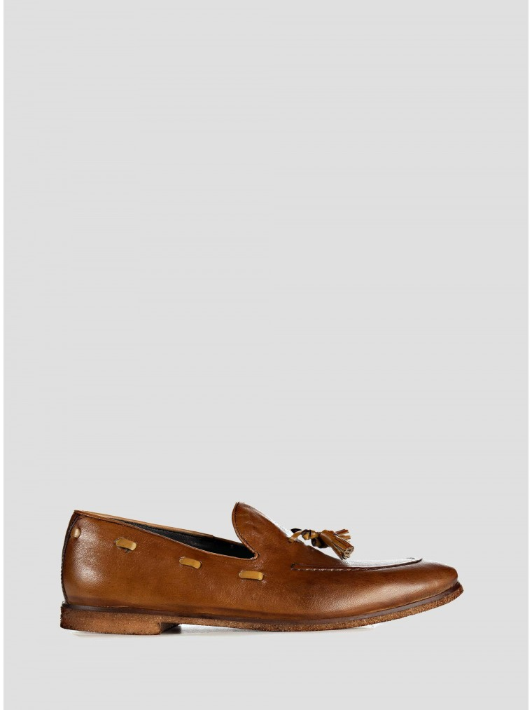 Wow Leather Loafers-Rust Brown