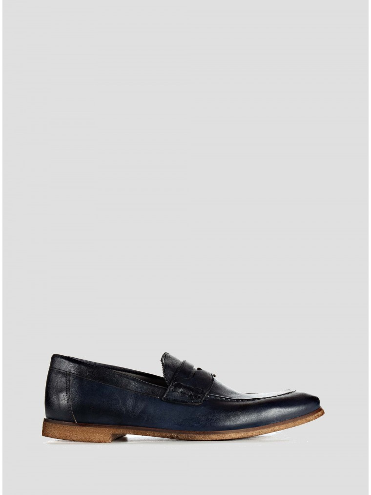 Wow Leather Mocassins-Blue
