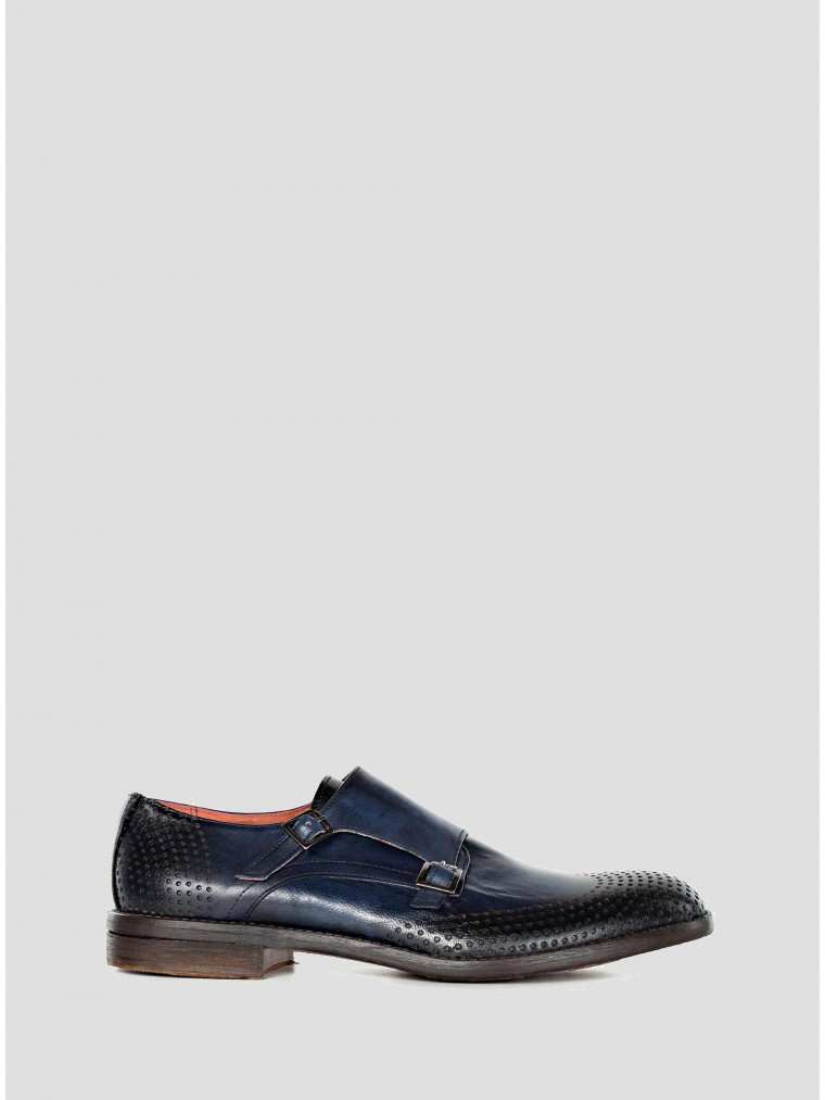 Wow Leather Double Monk Strap-Blue
