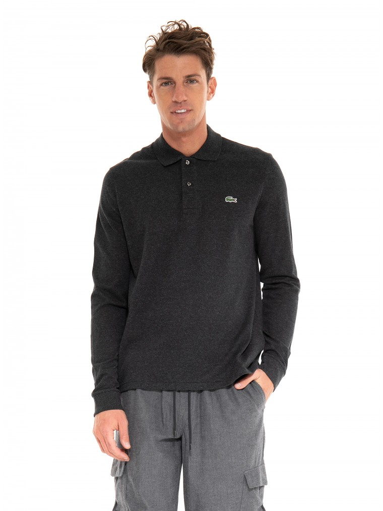 Lacoste Long-Sleeve Polo Shirt-Anthracite