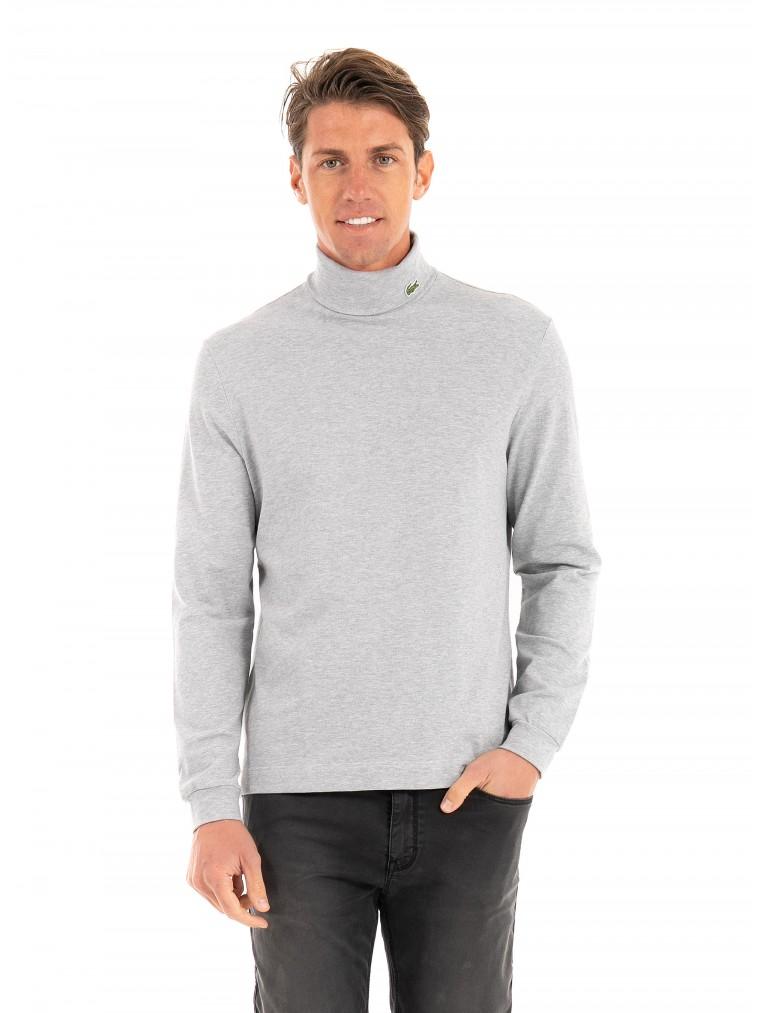 Lacoste Turtleneck Stretch Organic Cotton Blouse-Light Grey Melange