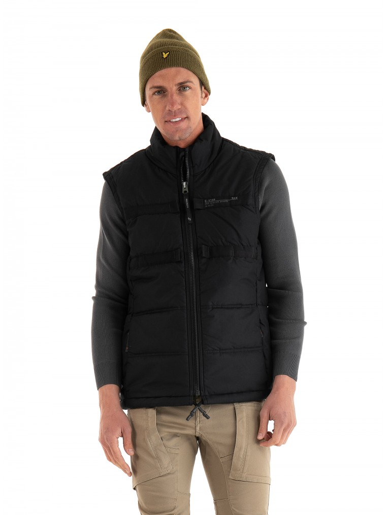 G-Star Attc Tape Quilted Padded Vest Jacket-Black