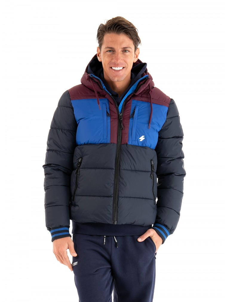 Superdry Sports Puffer Color Block Jacket -Blue
