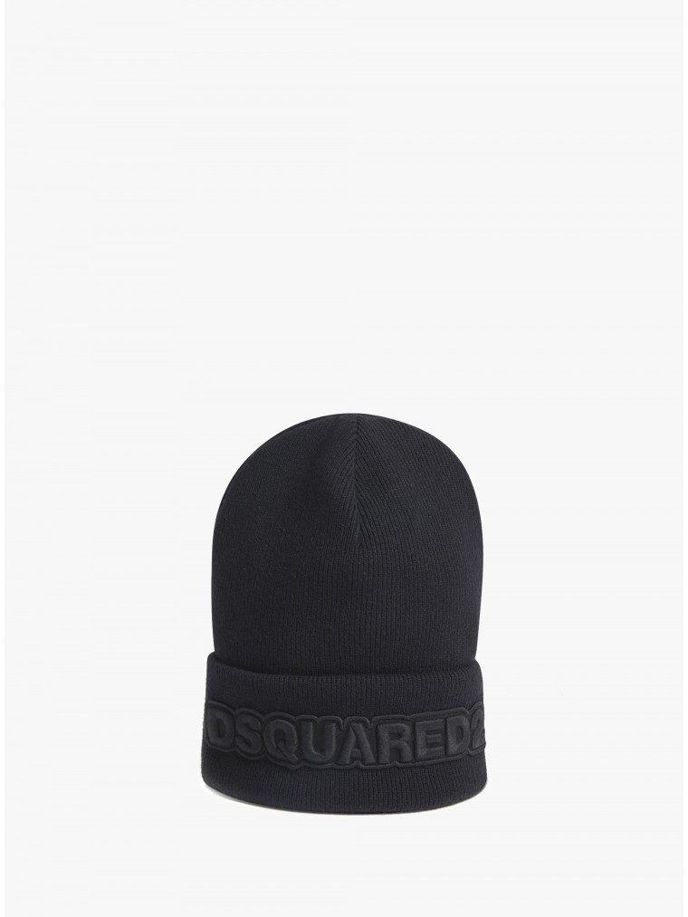 Dsquared Wool Beanie With Logo-Black
