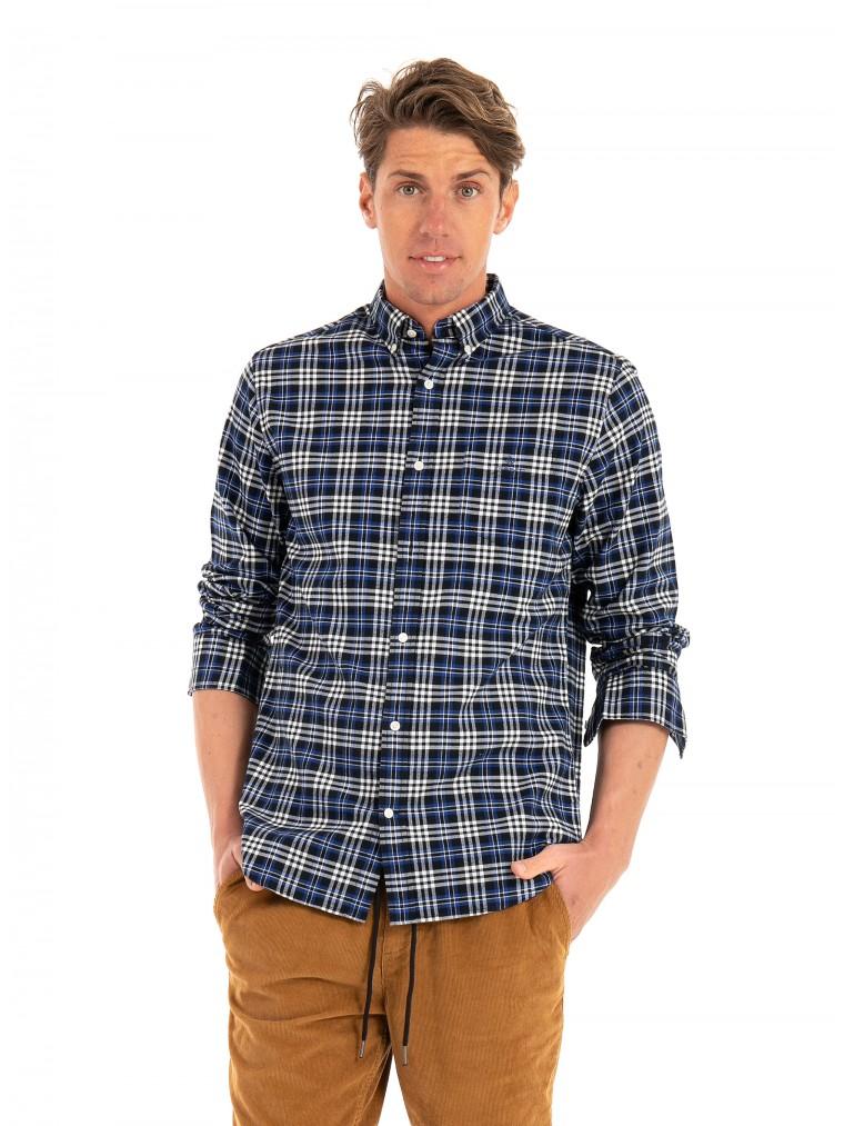 Gant Check Brushed Oxford Shirt-Blue