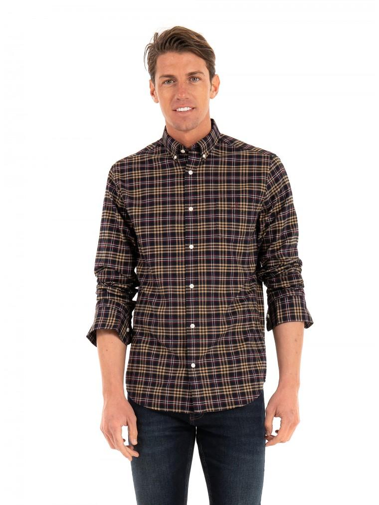 Gant Check Brushed Oxford Shirt-Beige