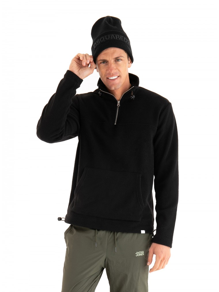 Les Deux Fleece Halfzip Sweatshirt Bond -Black