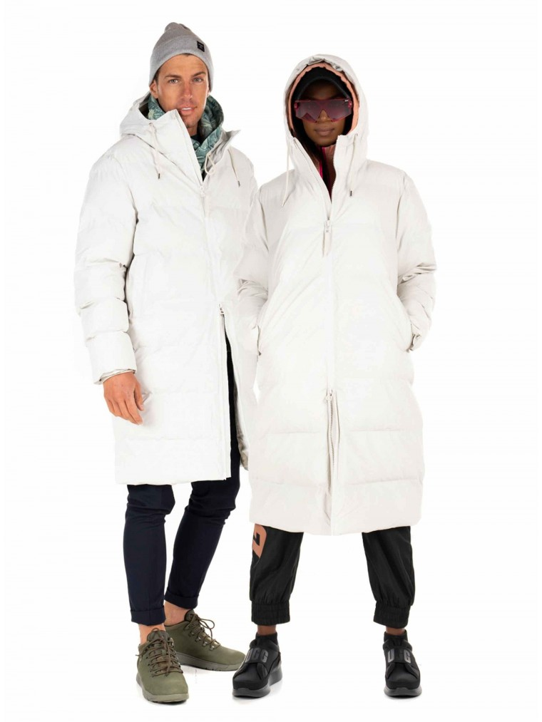 Rains Unisex Long Puffer Jacket-Off White