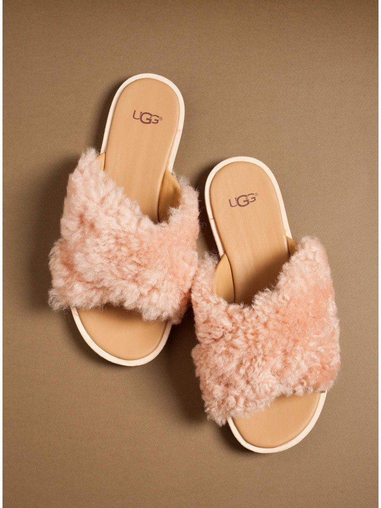 Ugg Australia Curly Sheepskin Sandals Joni-Pink