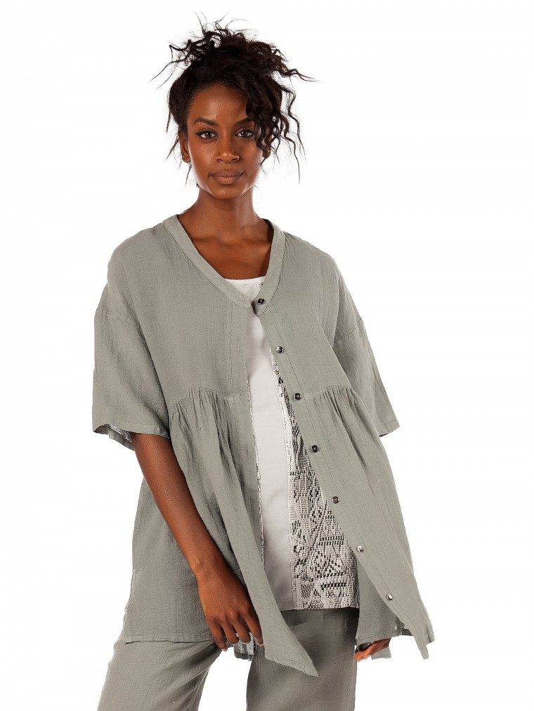 Lotus Eaters Linen Top Baloon-Grey