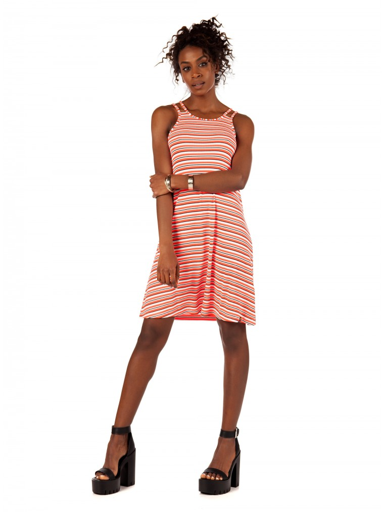 Superdry Willis Stripe Swing Dress-Orange