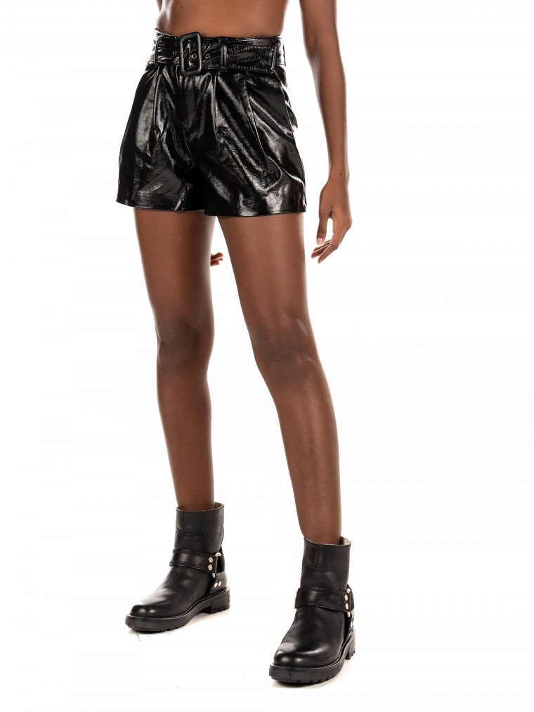 Only Faux Leather Shorts Scarlet-Black