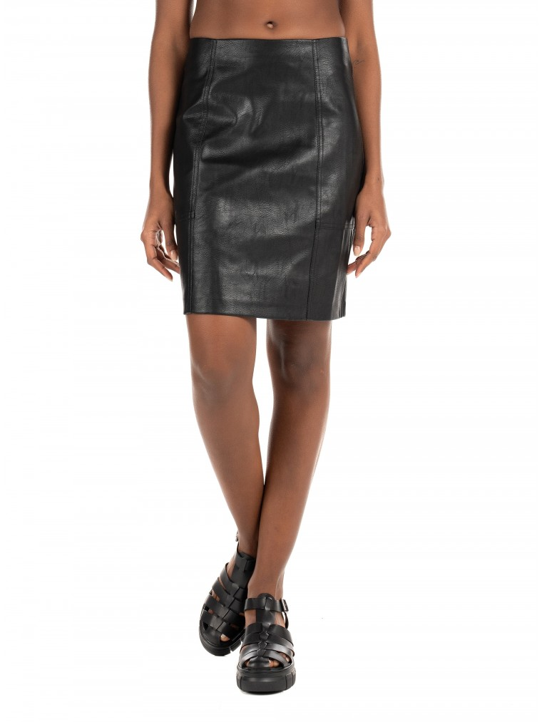 Only Faux Leather Skirt Sky-Black