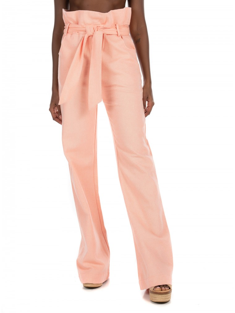 Kendall + Kylie High Waisted Ruffle Pants-Pink