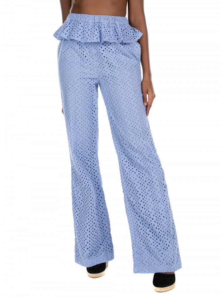 Kendall + Kylie Anglaise Lurapped Pants-Light Blue