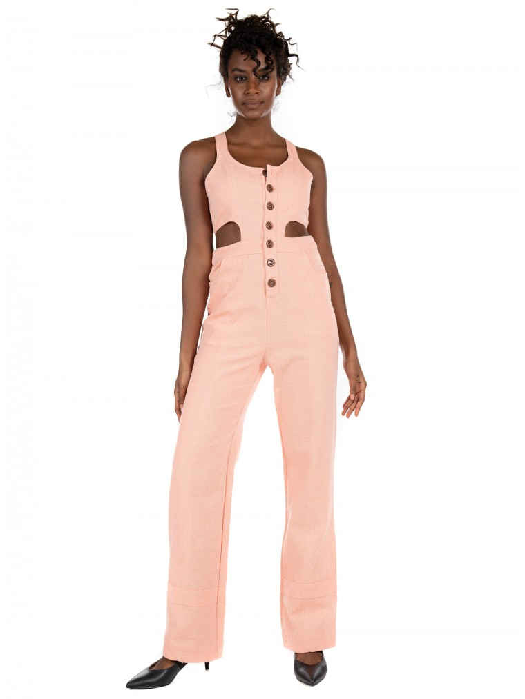 Kendall + Kylie Slim Jumpsuit-Light Salmon