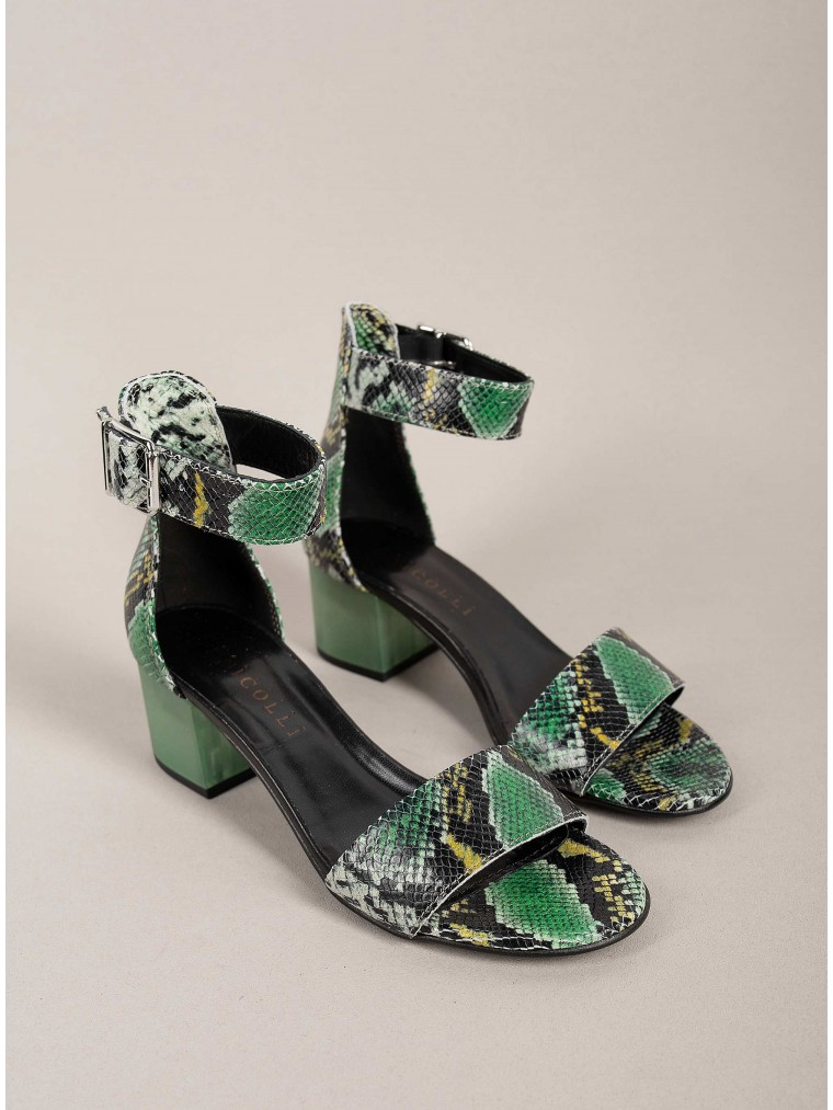 Dei Colli Heel Sandals Nat-Green