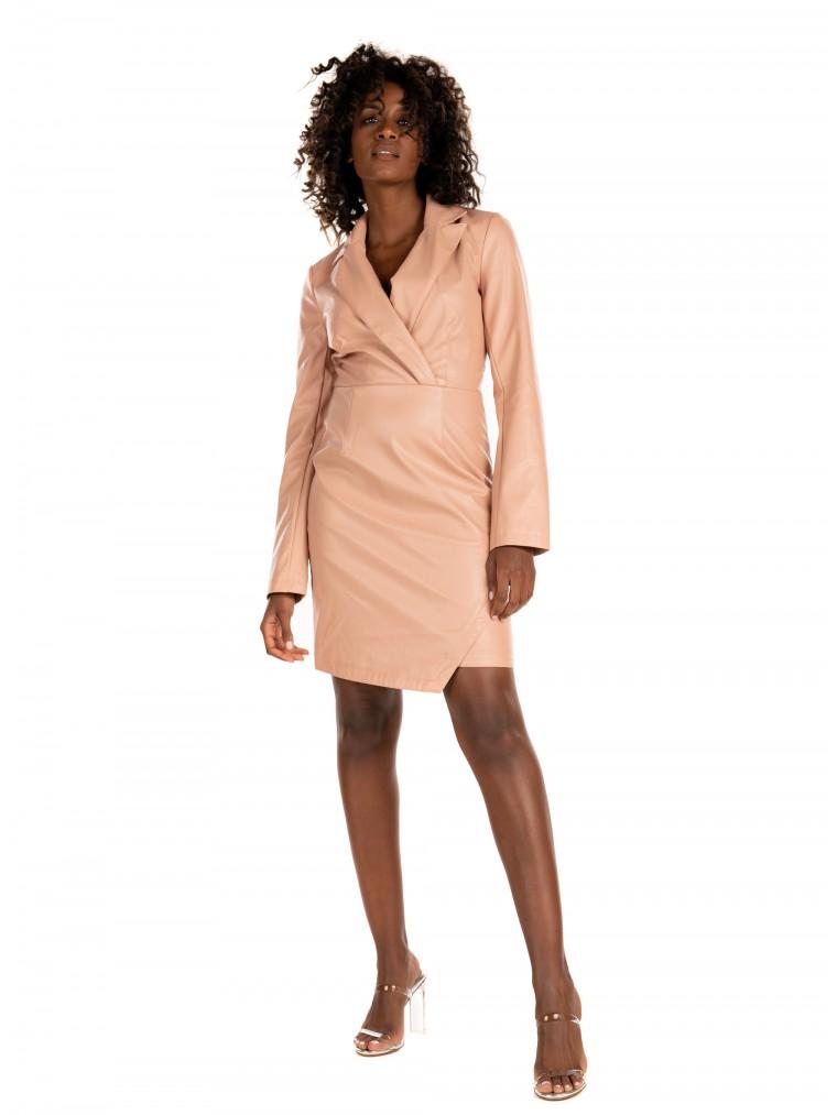 NA-KD PU Blazer Dress-Pink