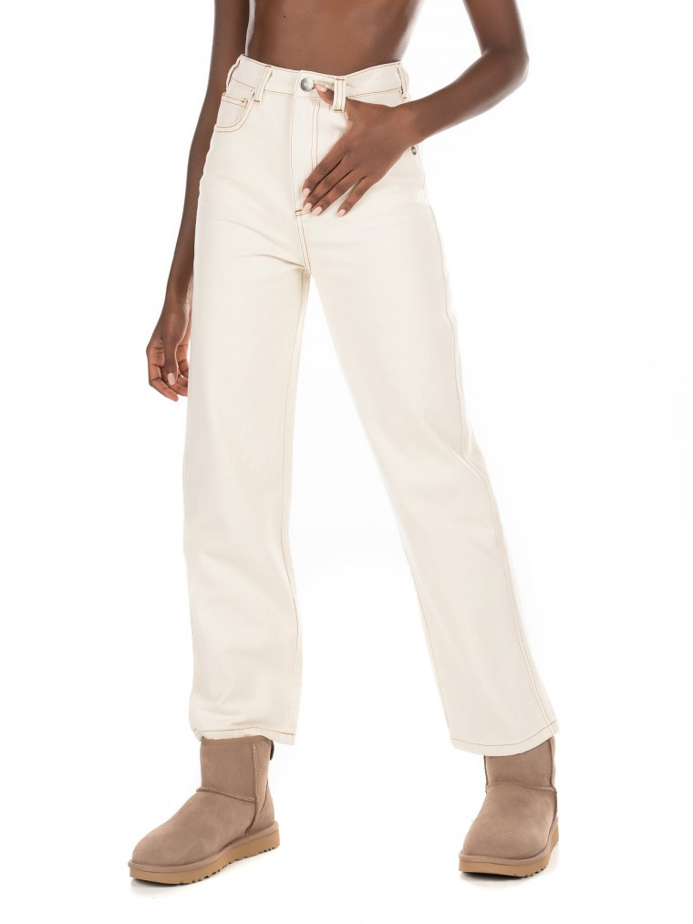 Maison Scotch High-Rise Straight Fit Jeans-Off White