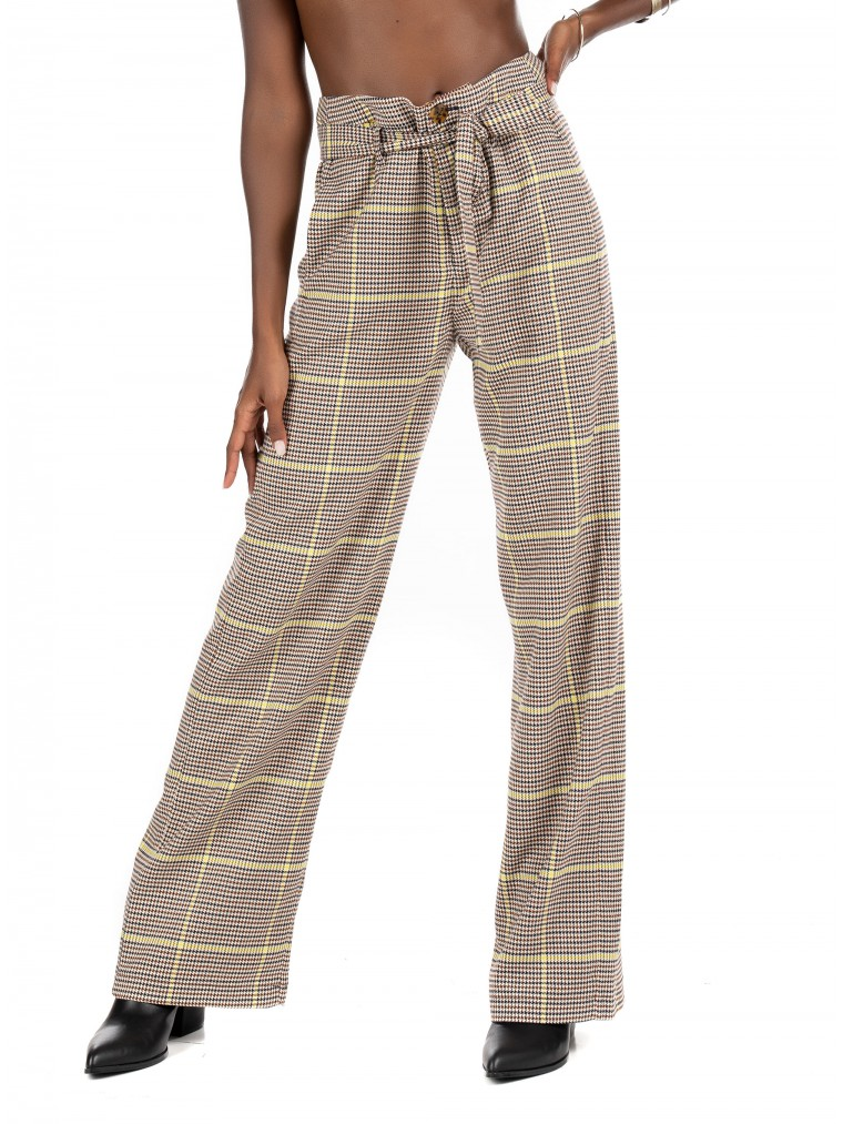Maison Scotch Wide-Leg High Rrise Pants-Tartan
