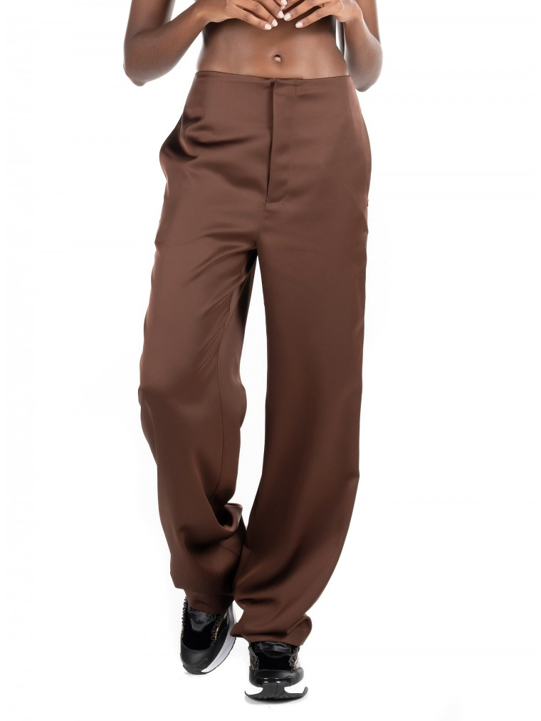 Maison Scotch High Waisted Wide Leg Pants-Brown