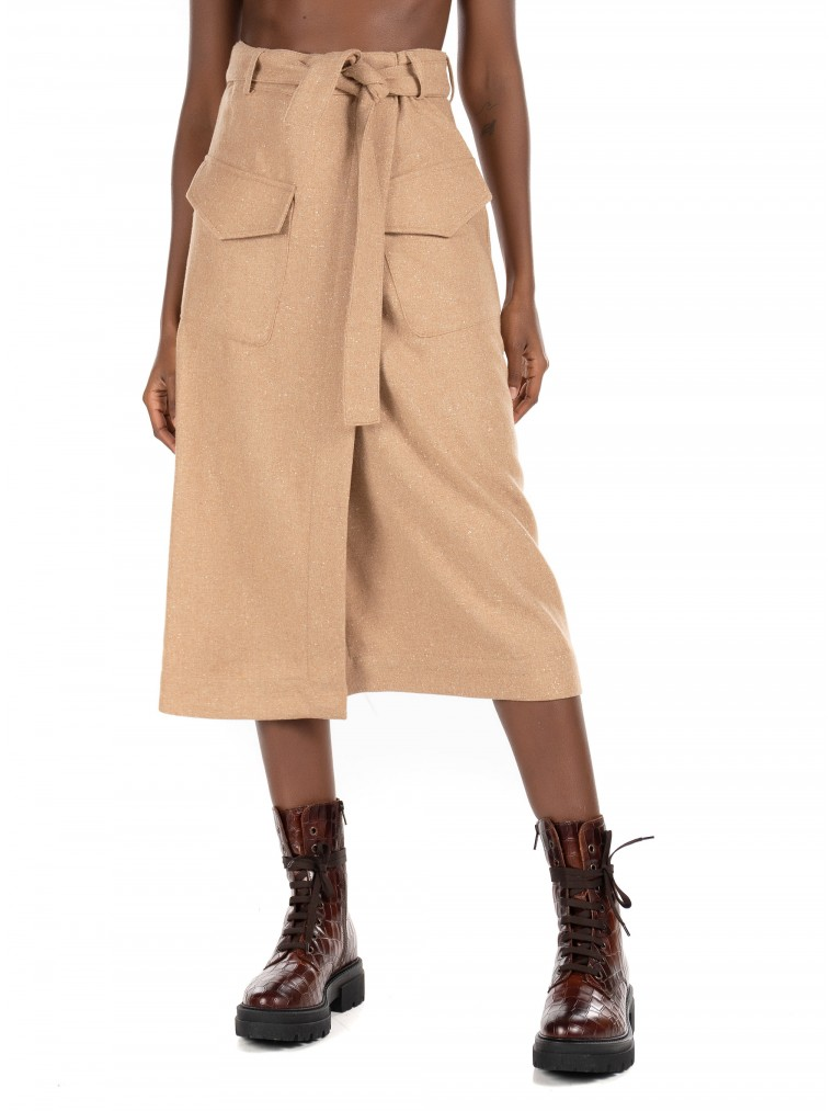Maison Scotch Wool Blend Midi Skirt-Beige