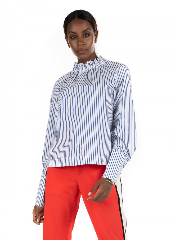 Maison Scotch Top With Gathered Collar-Striped