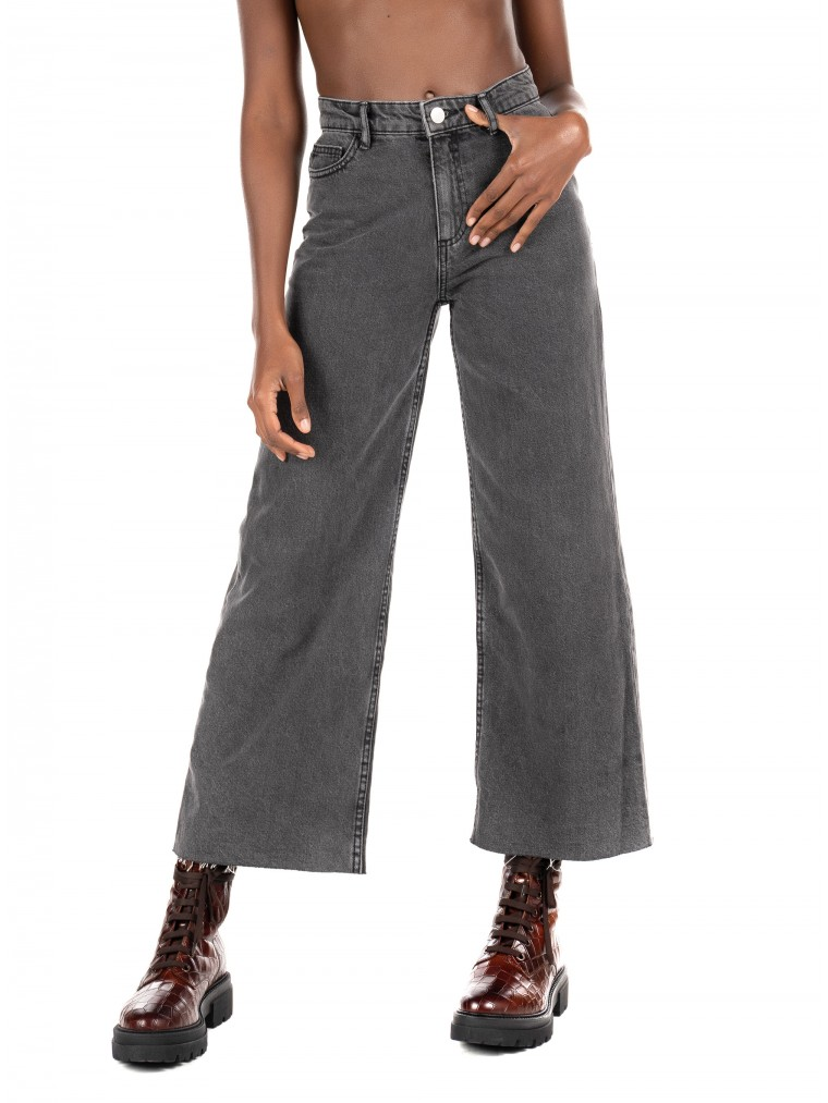 Only High Waist Cropped Jeans Sonny Life-Grey