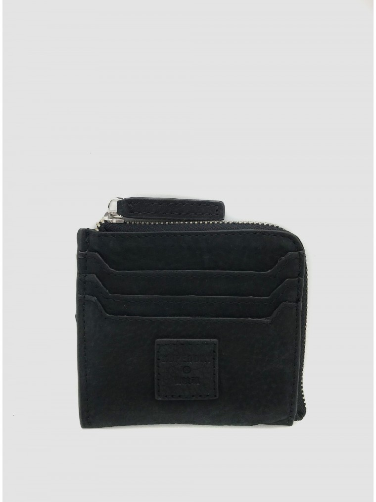 Superdry Leather Zip Round Coin Purse-Black