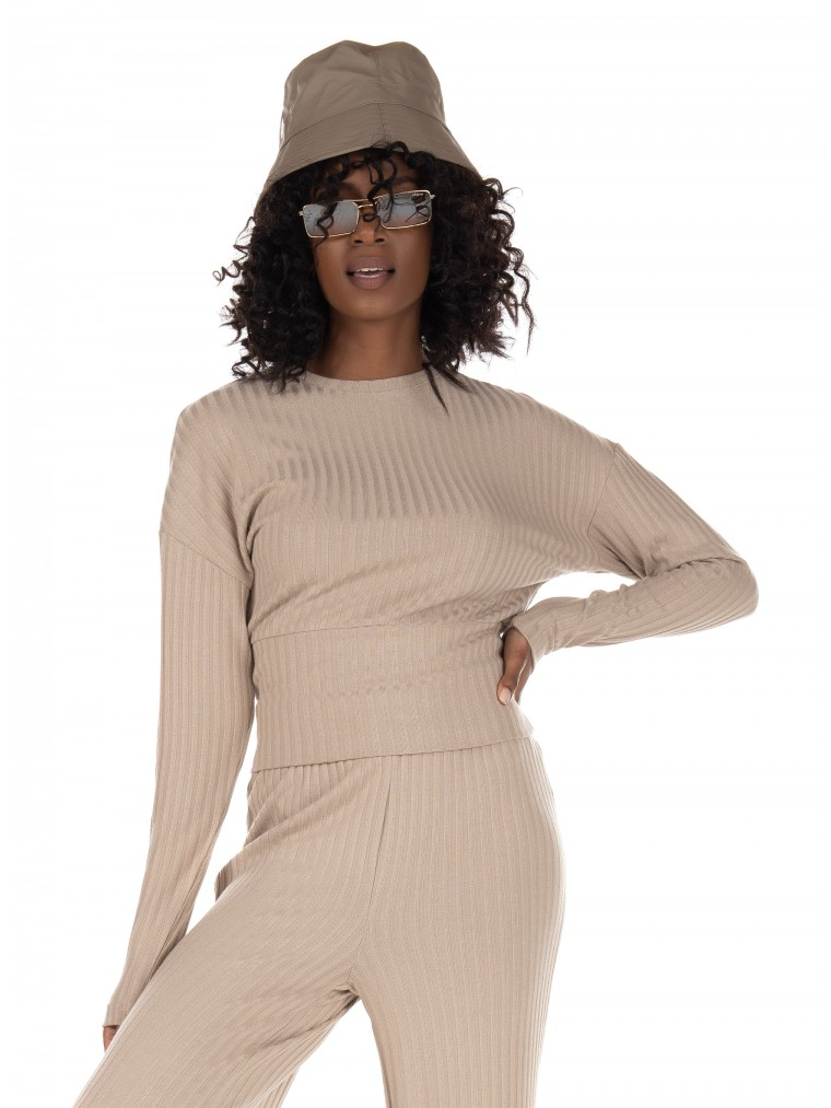Only Rib Top Dina-Beige