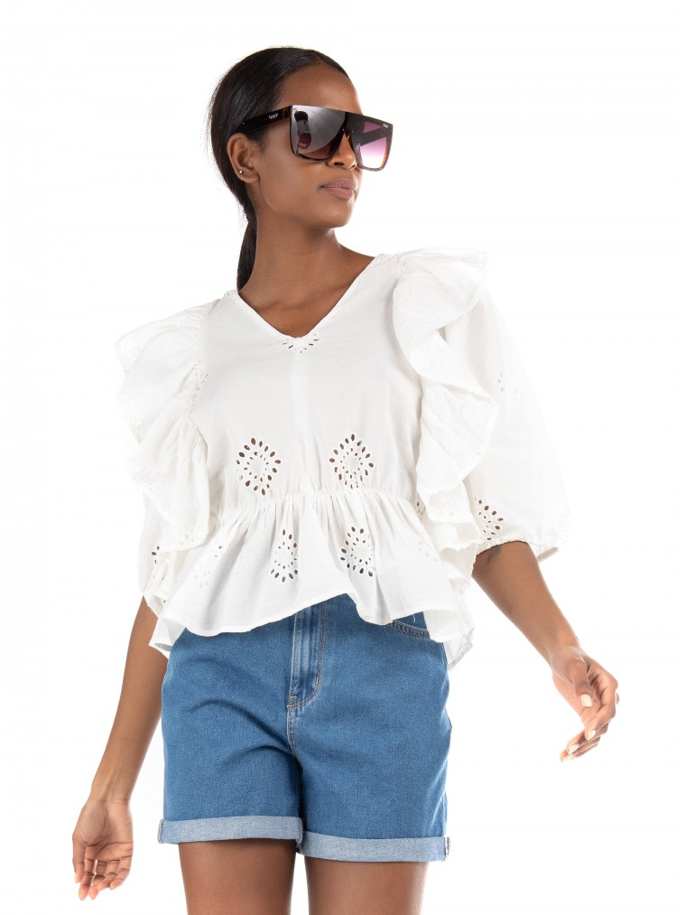 Only Frill Top Irma-Off White