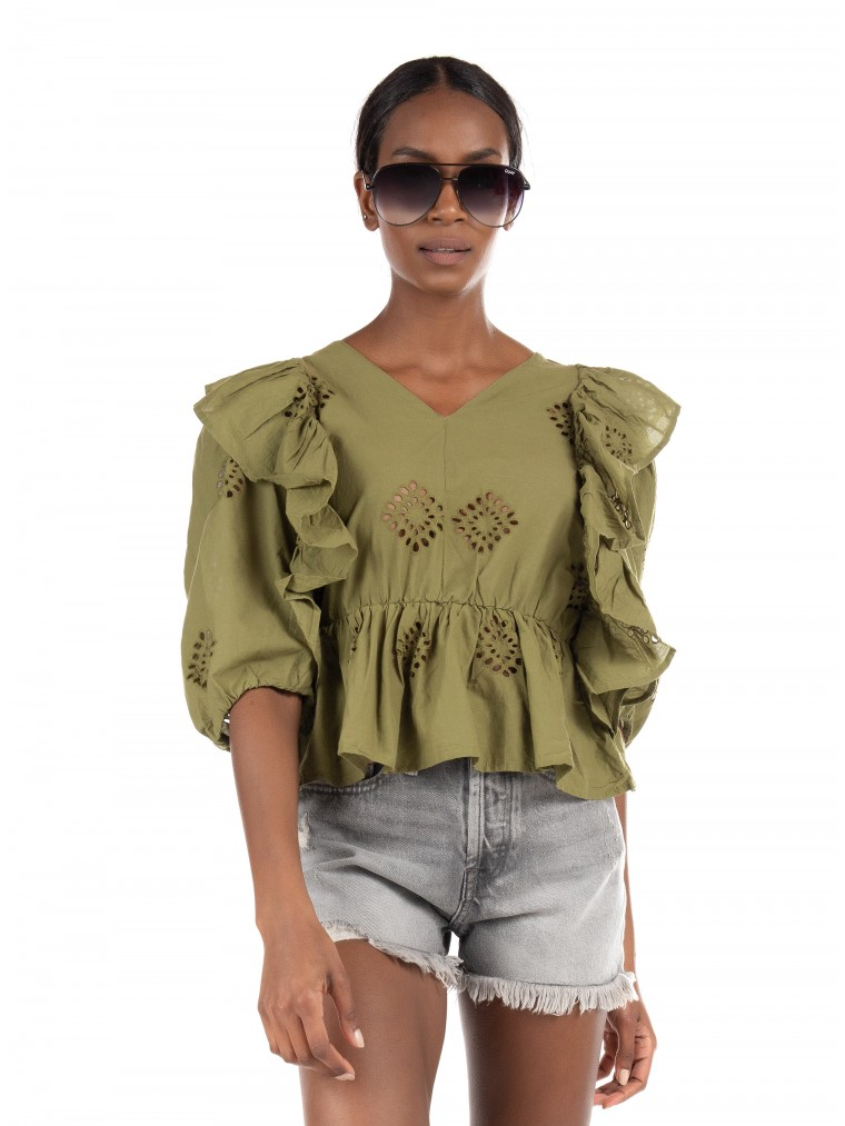 Only Frill Top Irma-Olive