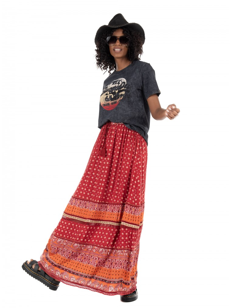 Superdry Amira Maxi Skirt-Bordeaux