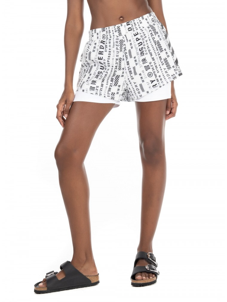 Superdry Running Double Layer Shorts-White