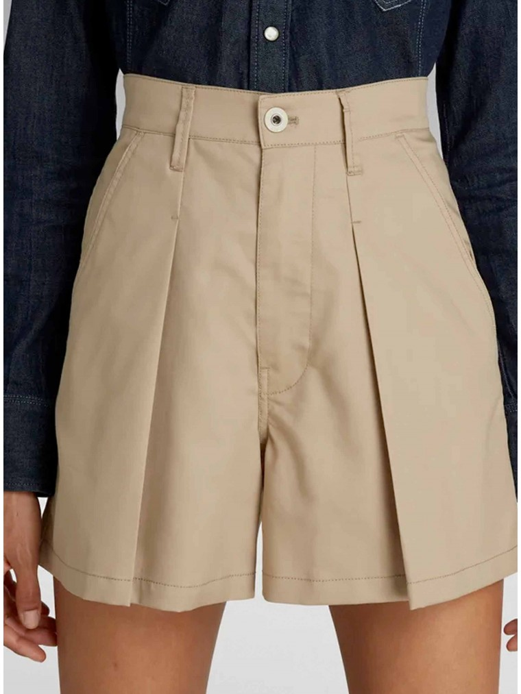 G-Star Pleated A-Line Shorts-Beige