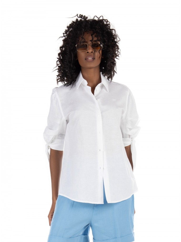 Karl Lagerfeld Linen Shirt With Bows Cuffs-White