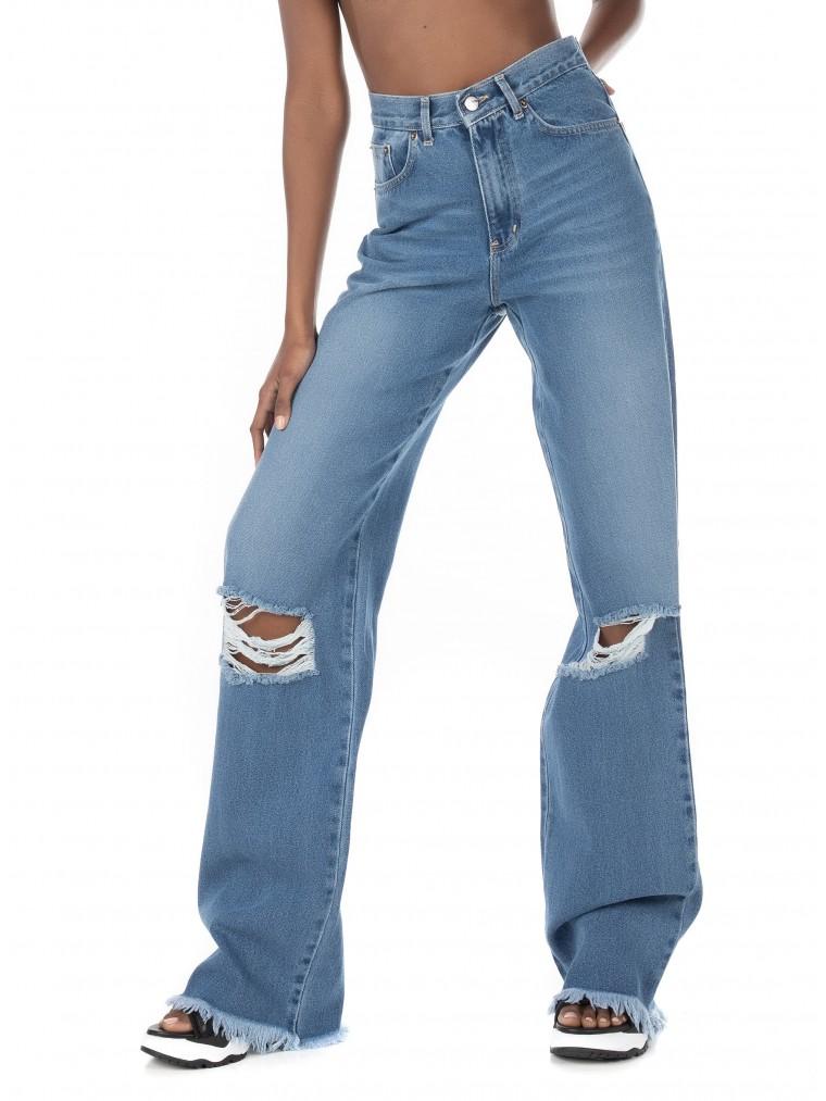 Collectiva Noir 2 Cut Long Jeans-Light Aged Denim