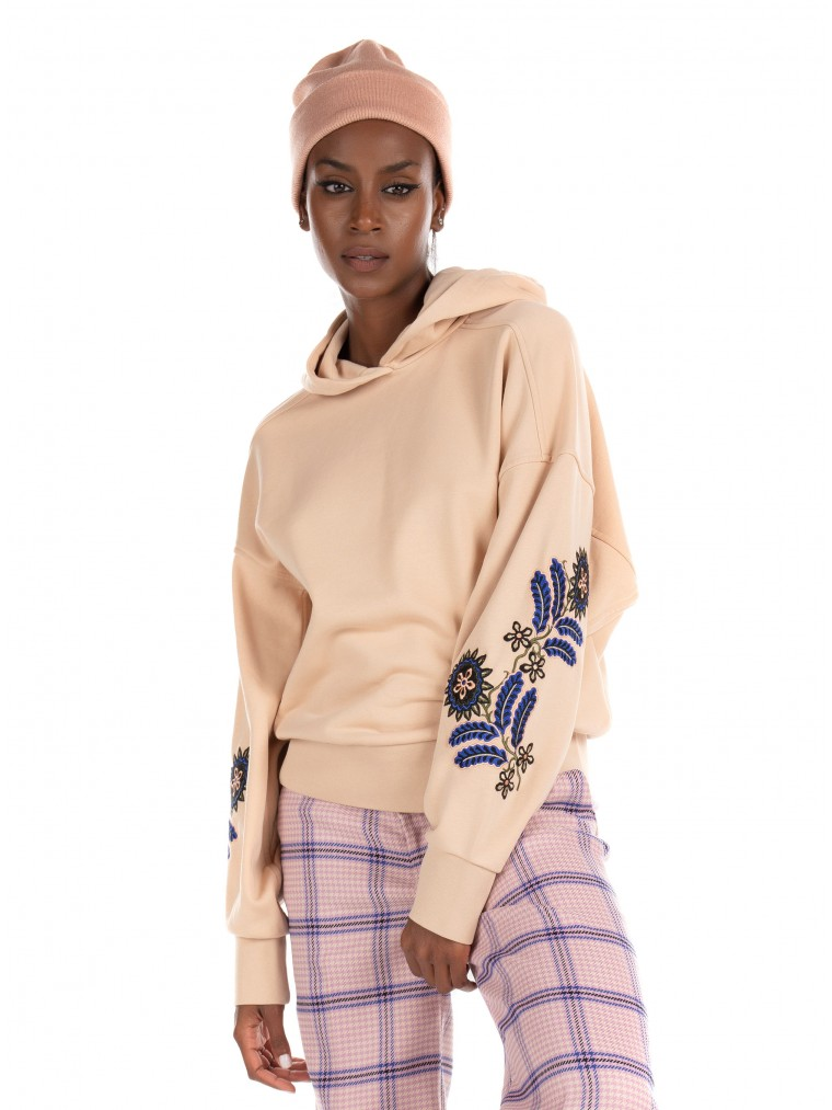 Maison Scotch Embroidered Oversized Hoodie-Light Beige