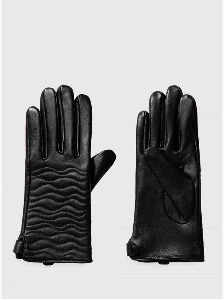 Maison Scotch Leather Quilted Gloves-Black