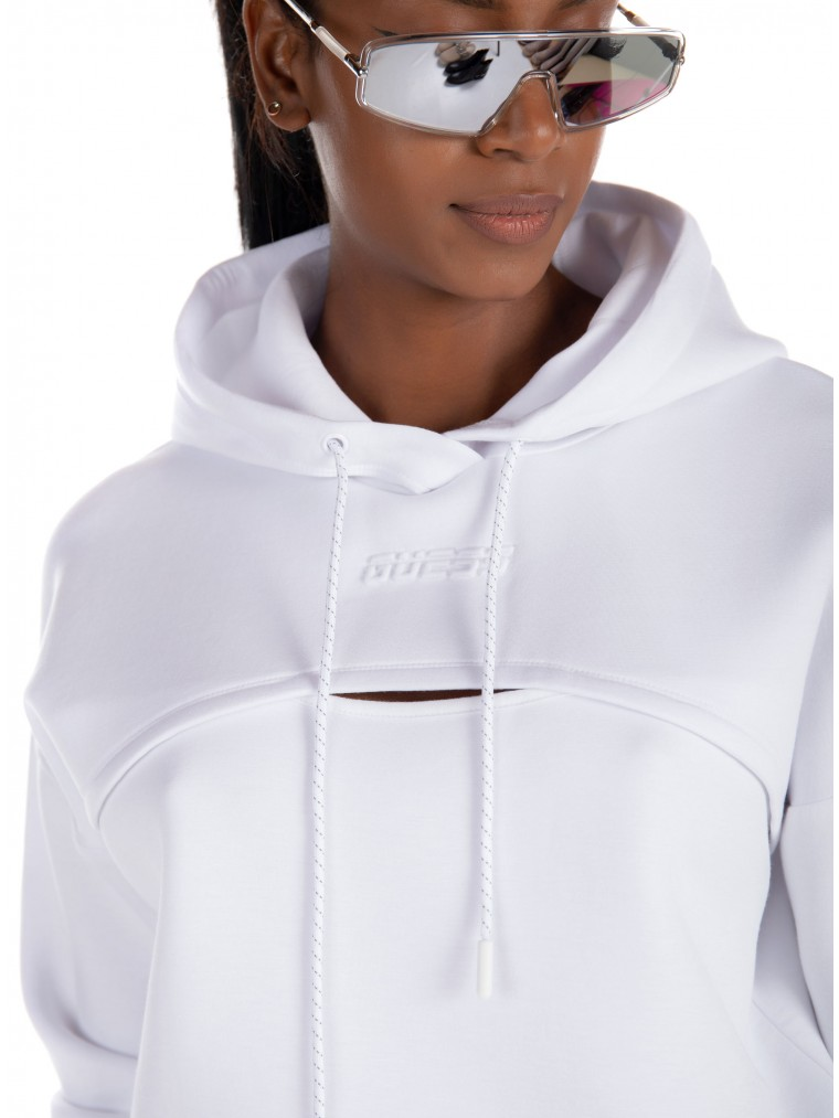 Guess Cut-Out Hoodie-White