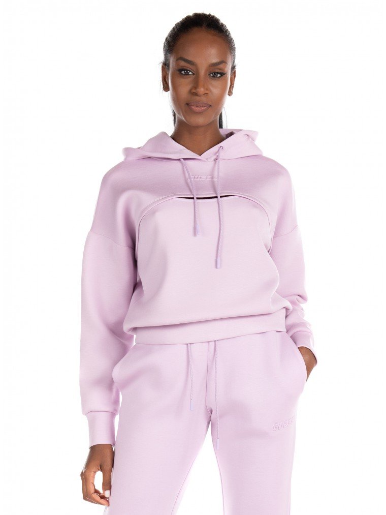 Guess Cut-Out Hoodie-Lilac